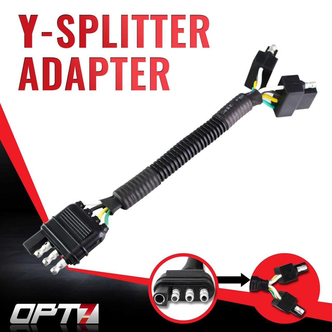 Y Splitter 4 Tow Pin Connector Adapter Harness Wiring For Truck Male Trailer Plug Tailgate