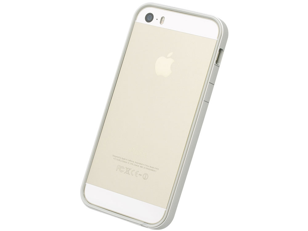 flat bumper silver white for iphone se 5s 5 power support. Black Bedroom Furniture Sets. Home Design Ideas
