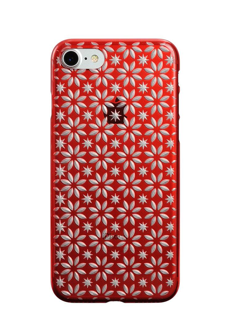 Air Jacket KIRIKO for iPhone 7 Pinwheel & Star Red