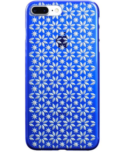 Air Jacket KIRIKO for iPhone 7 Plus Pinwheel & Star Blue