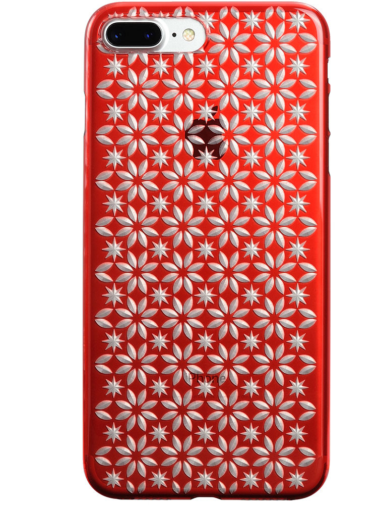 Air Jacket KIRIKO for iPhone 7 Plus Pinwheel & Star Red