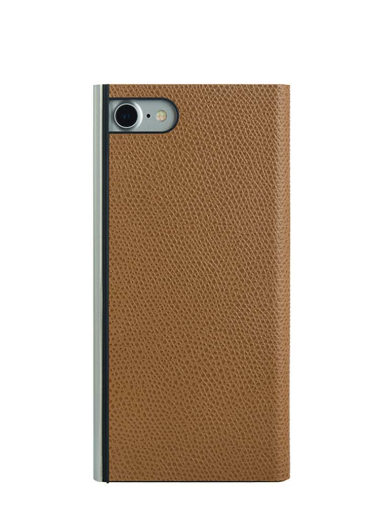 Flip Jacket for iPhone 7 Embossed Leather Back Camel