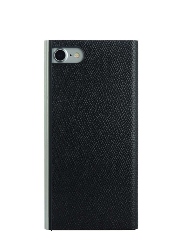 Flip Jacket for iPhone 7 Embossed Leather Back Black