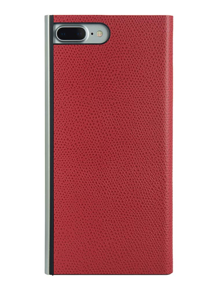 Flip Jacket for iPhone 7 Plus Embossed Leather Back Red