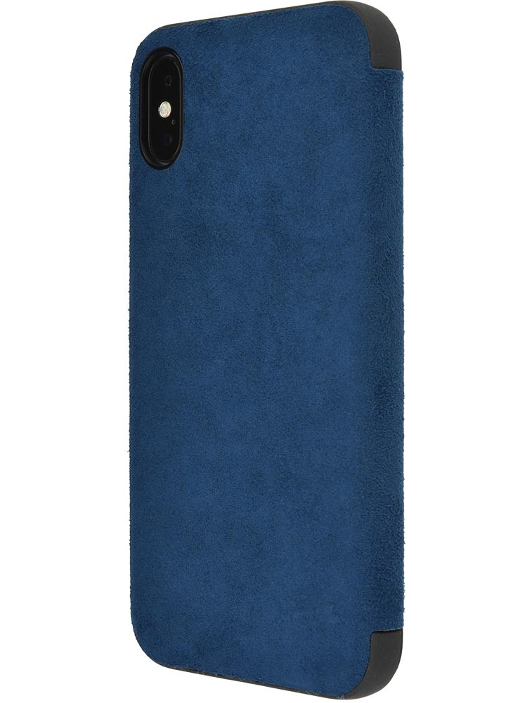 Ultrasuede Flip Case for iPhone X Side Blue