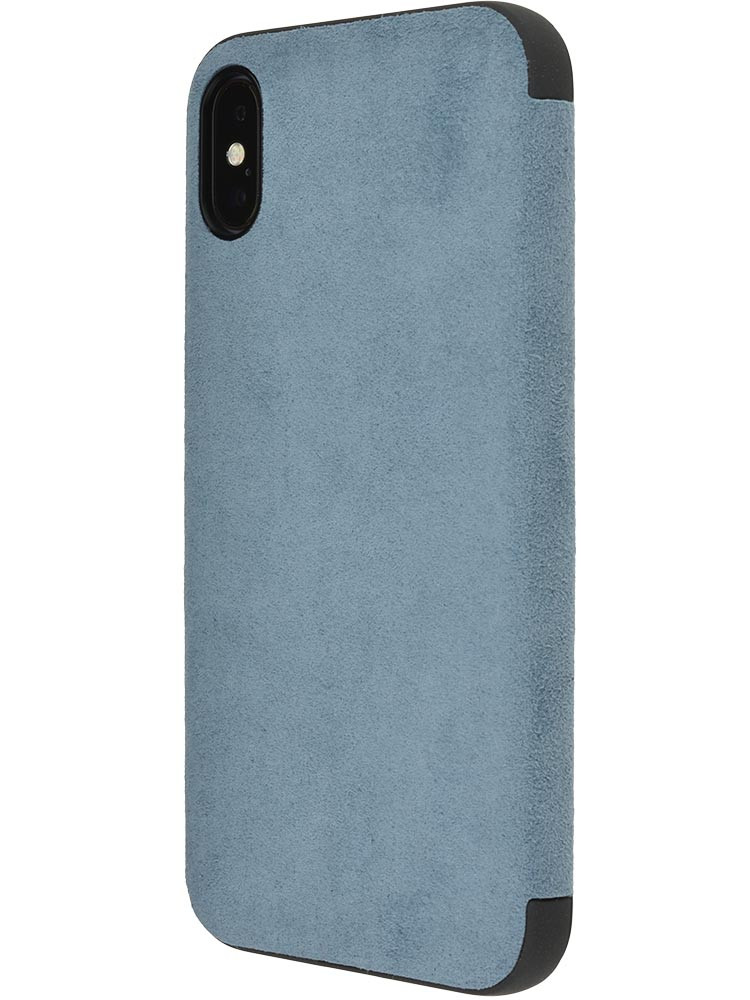 Ultrasuede Flip Case for iPhone X Side Sky