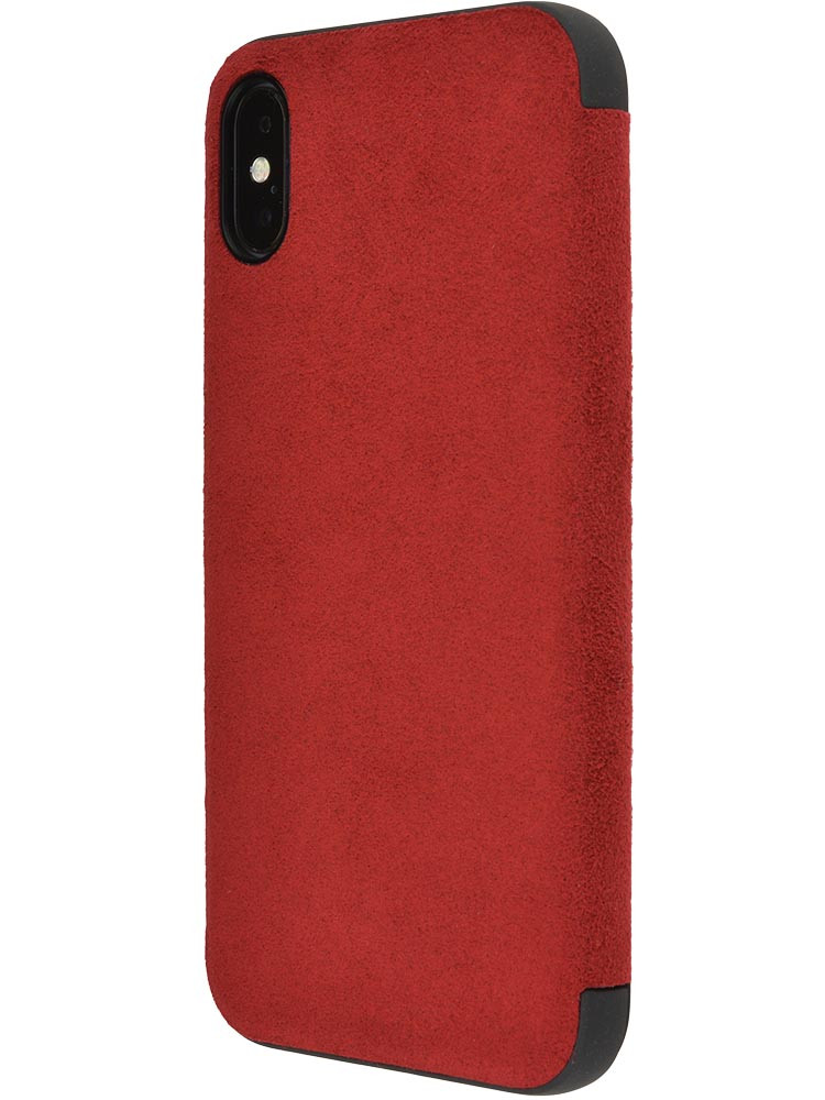 Ultrasuede Flip Case for iPhone X Side Red