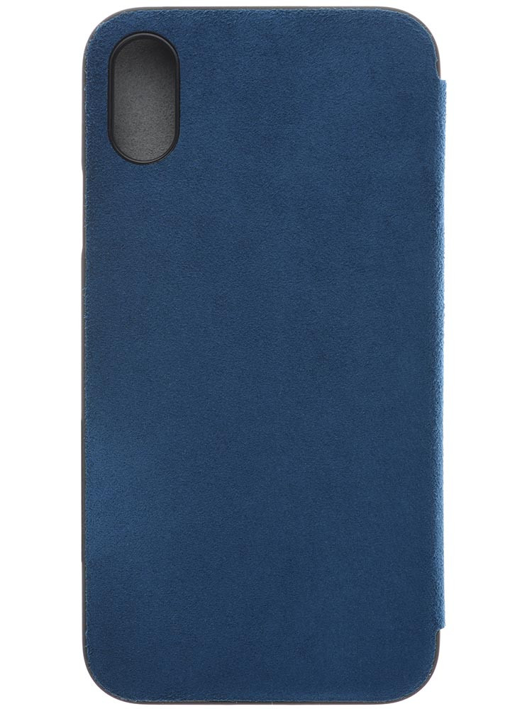Ultrasuede Flip Case for iPhone X Back Blue