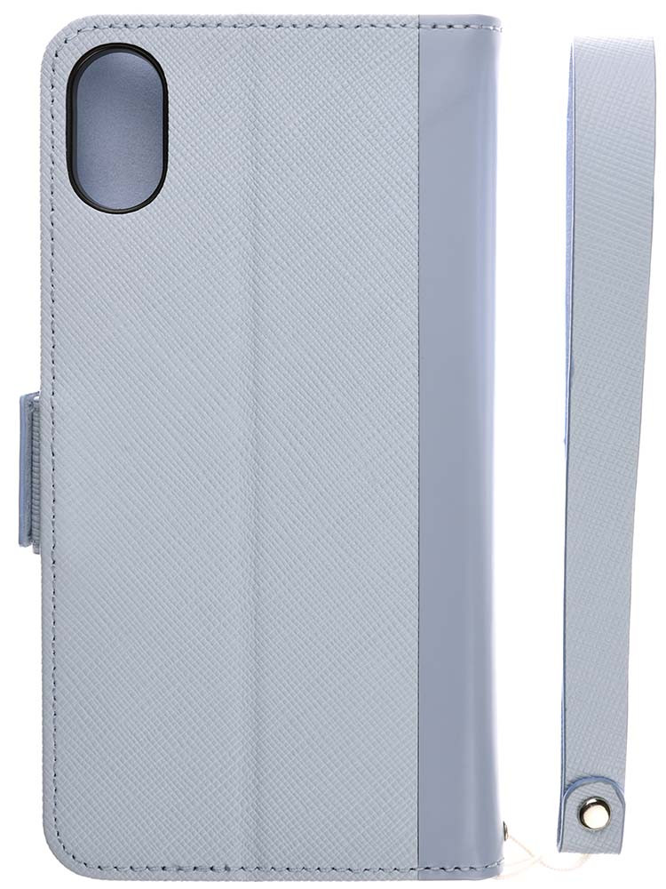 Leather Flip Case for iPhone X Blue Back