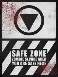 Safe Zone Sign - Halloween Decor Prop Road and Lawn Decoration Sticker