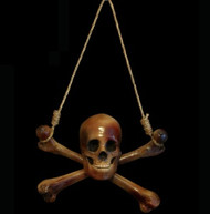 Aged Skull and Crossbones Halloween Prop