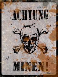 Achtung Minen THICK Sign - Halloween Decor Prop Road and Lawn Decoration