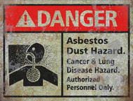 Asbestos Sign THICK - Halloween Decor Prop Road and Lawn Decoration