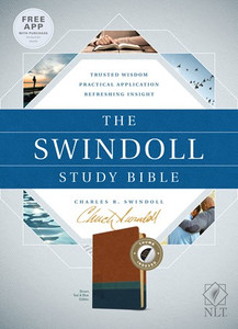 The Swindoll Study Bible. Indexed NLT  Brown/Teal Leather Like