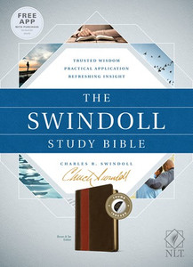 The Swindoll Study Bible. Indexed NLT  Brown/Tan Leather Like Book