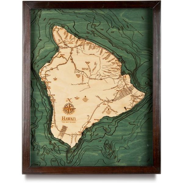 Hawaii Wooden Map Art | Topographic 3D Chart