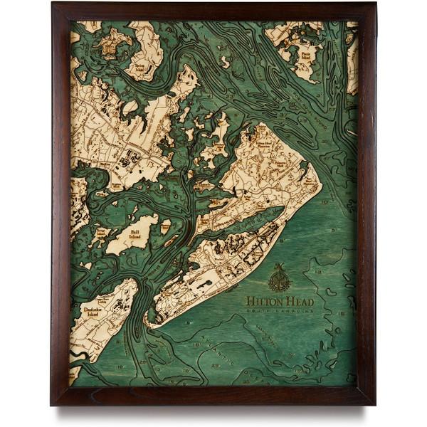 Hilton Head Wooden Map Art Topographic 3d Chart