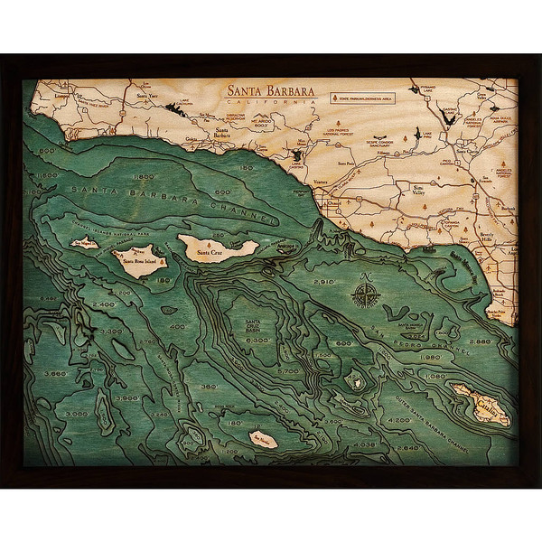 Santa Barbara Channel Islands Wooden Map Art 3d Chart