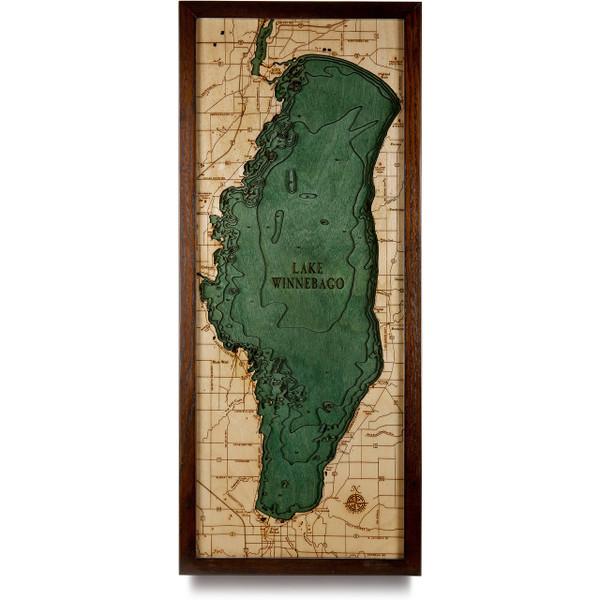 Lake Winnebago Wooden Map Art Topographic 3d Chart