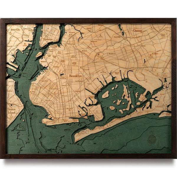 Brooklyn Wooden Map Art Topographic 3d Chart