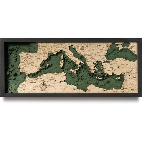 Mediterranean Sea Wooden Map Art
