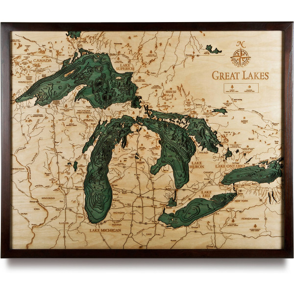The Great Lakes Wooden Map Art Topographic D Chart - Lake huron depth map