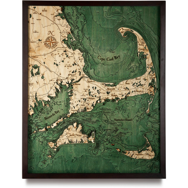 Cape cod wooden map art topographic d chart