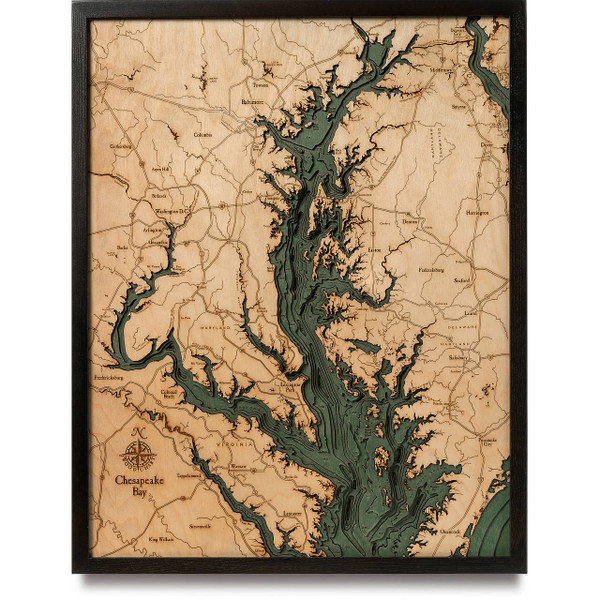 Chesapeake bay wooden map art topographic d chart