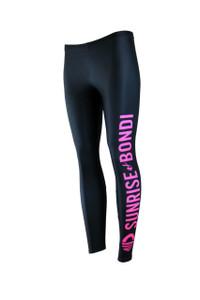 Signature Moisture Management Legging - Black (Hot Pink)