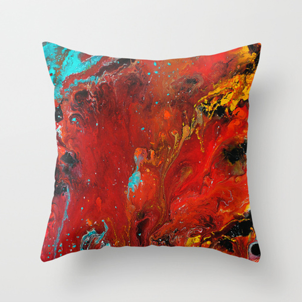 Bright Red and Turquoise Cushion