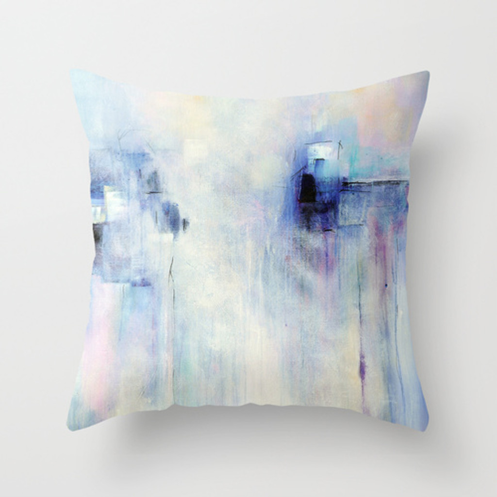 Blue And Lavender Throw Pillows : Abstract Decorative Pillow, Lavender, Blue, White