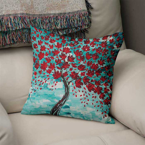 art pillow with red cherry tree blossom