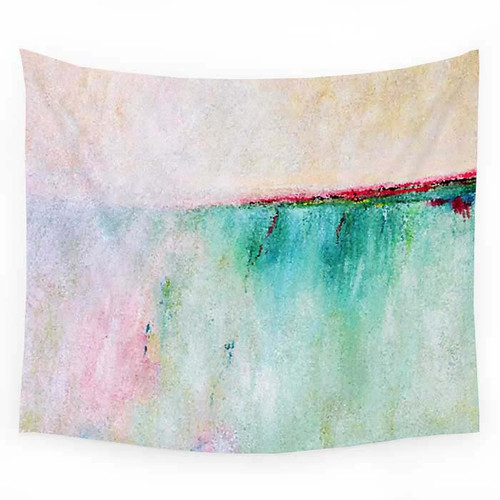 Coastal wall hanging tapestry, pink, turquoise.