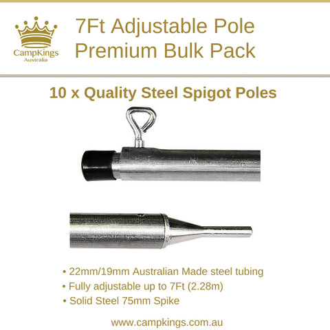 7Ft (228cm) Premium Pole Bulk Pack   Solid Steel Spigot   CampKings Australia