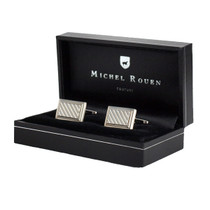 Silver Striped Cufflinks