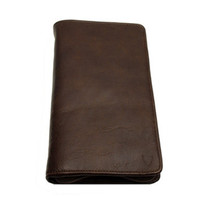 Brown Zip Around Travel Wallet
