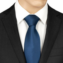 Navy Blue Herringbone Tie