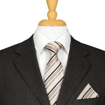 Black And Cream Striped Tie