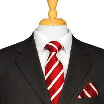 Dark Red And White Striped Tie