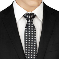 Black Tie With Silver Squares