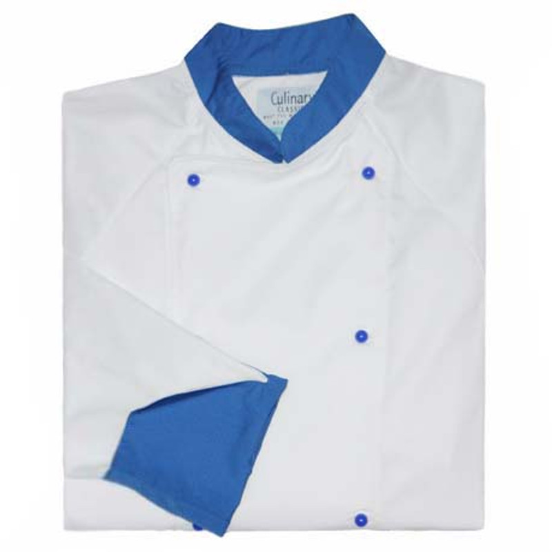 Raglan Chef Coat in White Fineline Twill with Royal Blue Accents