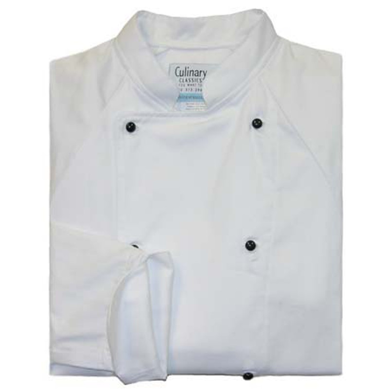 Raglan Chef Coat in White Midweight Cotton with Black Stud Buttons