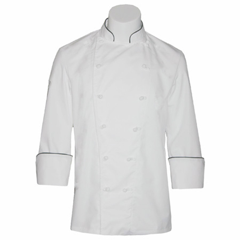 Traditional Chef Coat in White Fineline Twill with Black Cording