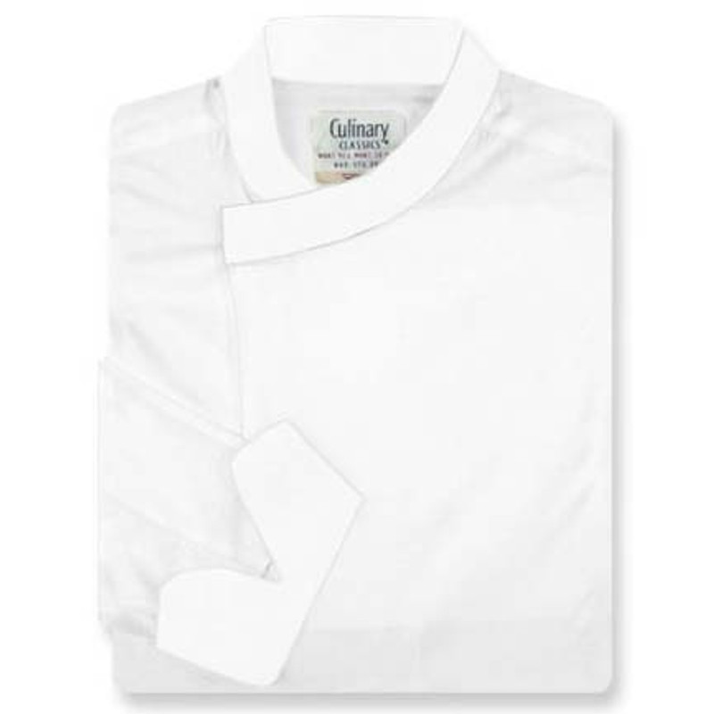 Tunic Chef Coat in White Egyptian Cotton with Left Sleeve Pocket