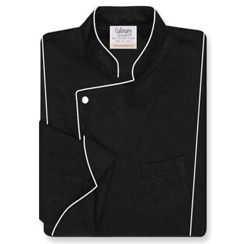 Milan Chef Coat in Black Soil-Release Twill with White Accents