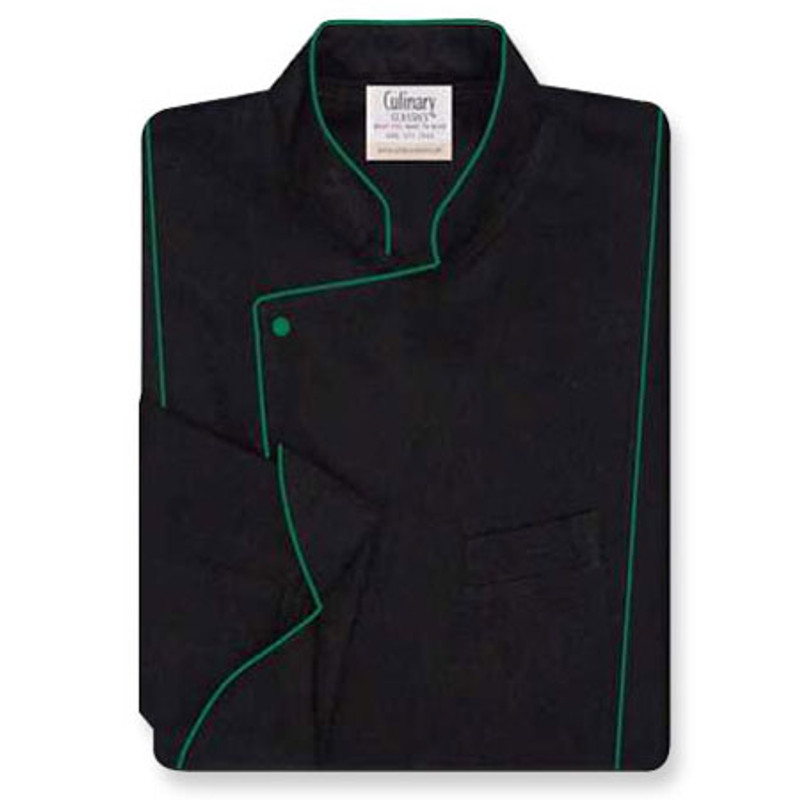 Milan Chef Coat in Black Twill with Green Accents