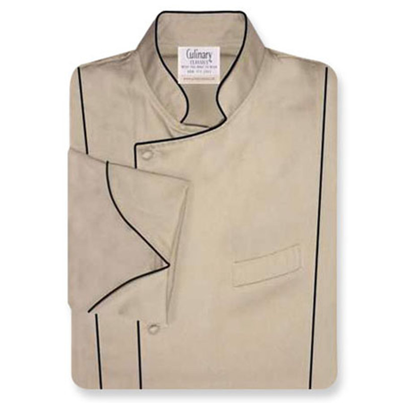 Milan Chef Coat in Khaki Twill with Black Accents
