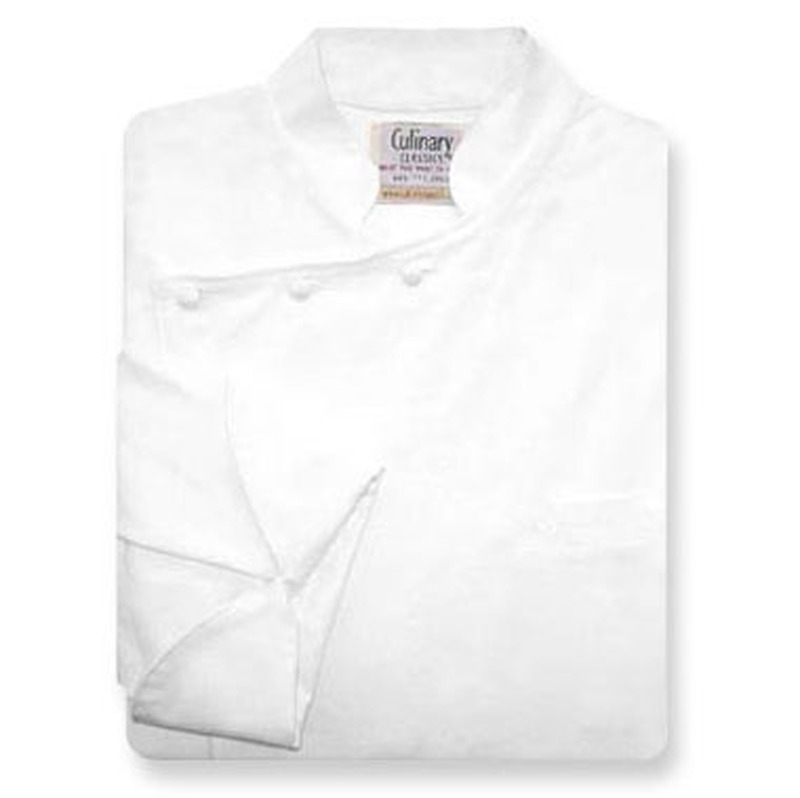 Bordeaux Chef Coat in White Egyptian Cotton