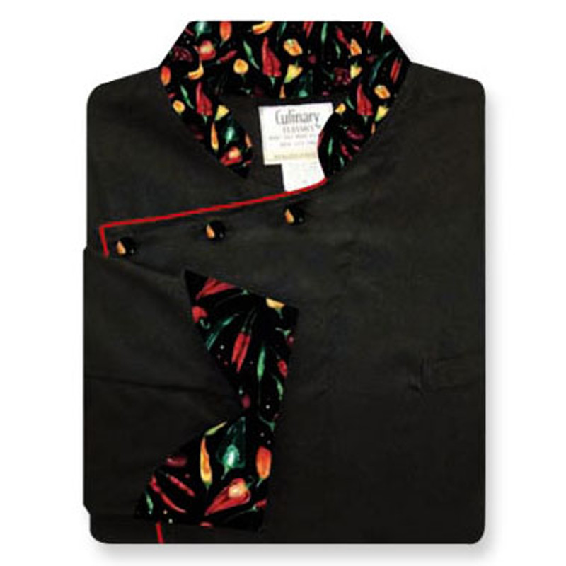 Bordeaux Chef Coat in Black with Black Peco Peppers Conversions