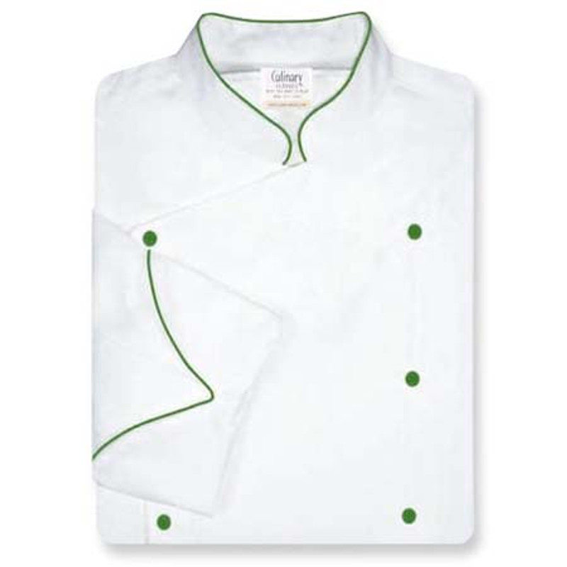 Venetian Chef Coat in White Twill with Green Accents